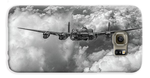 Galaxy S6 Case featuring the photograph Avro Lancaster Above Clouds Bw Version by Gary Eason
