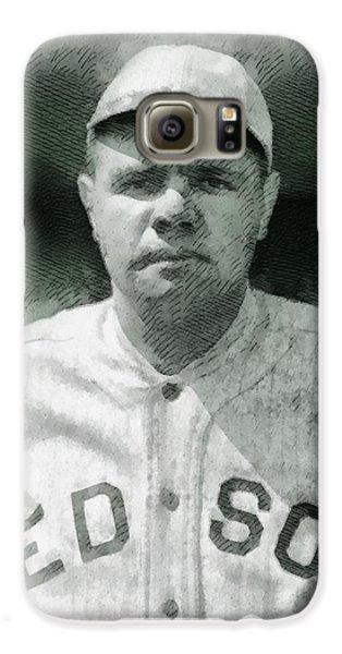 Baseball Players Galaxy S6 Case - Babe Ruth, Baseball Player by John Springfield