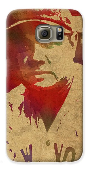 Babe Ruth Baseball Player New York Yankees Vintage Watercolor Portrait On Worn Canvas Galaxy S6 Case by Design Turnpike