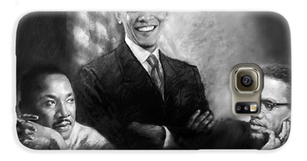 Barack Obama Martin Luther King Jr And Malcolm X Galaxy S6 Case by Ylli Haruni
