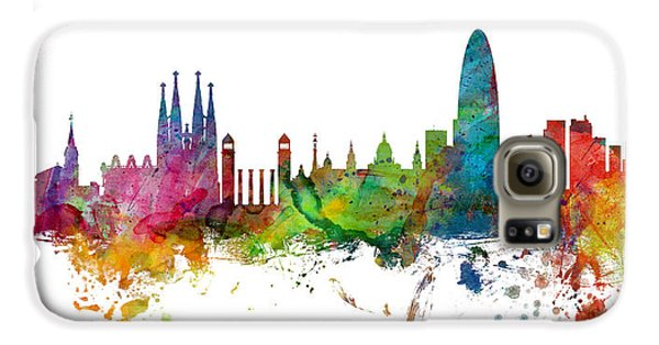 Barcelona Spain Skyline Panoramic Galaxy S6 Case by Michael Tompsett