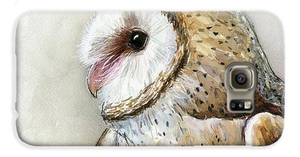 Owl Galaxy S6 Case - Barn Owl Watercolor by Olga Shvartsur