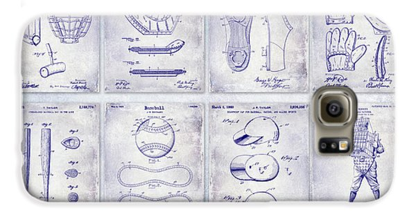 Baseball Gloves Galaxy S6 Case - Baseball Patent History Blueprint by Jon Neidert