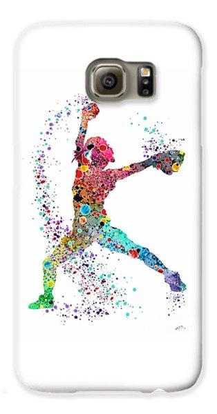 Baseball Softball Pitcher Watercolor Print Galaxy S6 Case