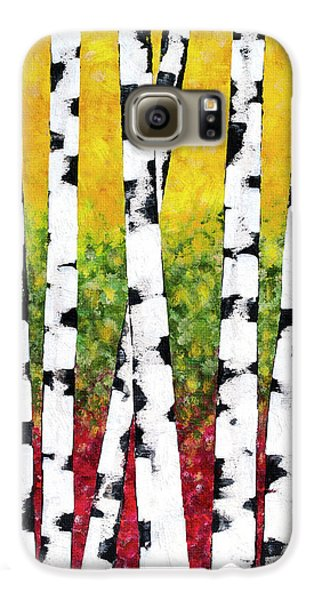Galaxy S6 Case featuring the mixed media Birch Forest Trees by Christina Rollo