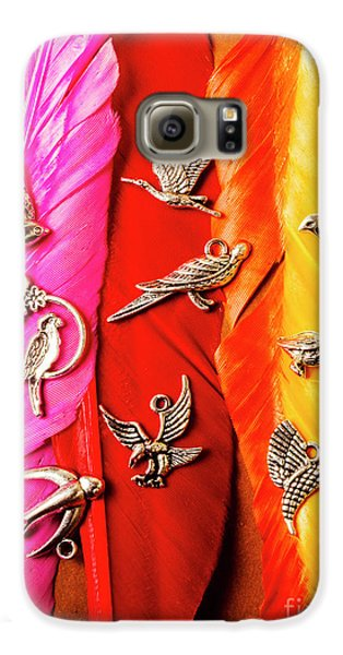 Colours Galaxy S6 Case - Bird Icons And Rainbow Feathers by Jorgo Photography - Wall Art Gallery