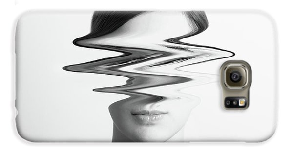 Black And White Abstract Woman Portrait Of Restlessness Concept Galaxy S6 Case by Radu Bercan