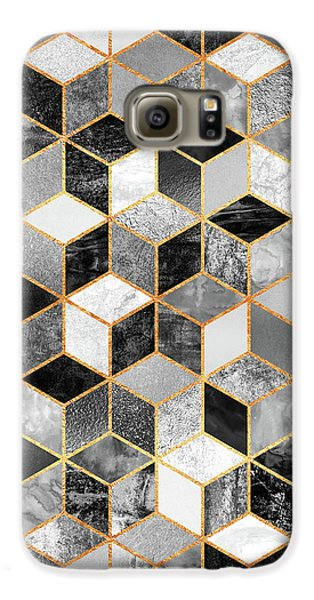 Abstract Galaxy S6 Case - Black And White Cubes by Elisabeth Fredriksson