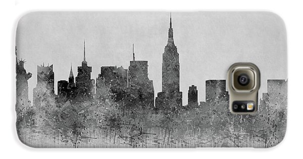 Galaxy S6 Case featuring the digital art Black And White New York Skylines Splashes And Reflections by Georgeta Blanaru