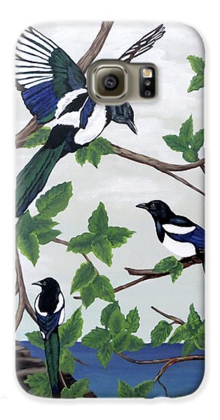 Black Billed Magpies Galaxy S6 Case