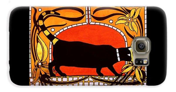Black Cat With Floral Motif Of Art Nouveau By Dora Hathazi Mendes Galaxy S6 Case