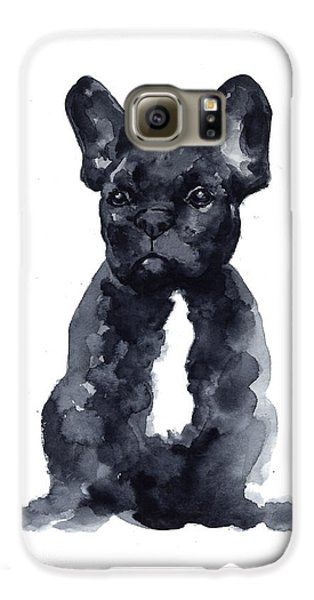 Dog Galaxy S6 Case - Black French Bulldog Watercolor Poster by Joanna Szmerdt