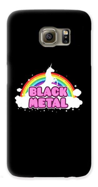 Black Metal Funny Unicorn / Rainbow Mosh Parody Design Galaxy S6 Case