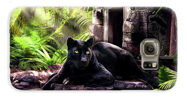 Panther Galaxy S6 Case - Black Panther Custodian Of Ancient Temple Ruins  by Regina Femrite