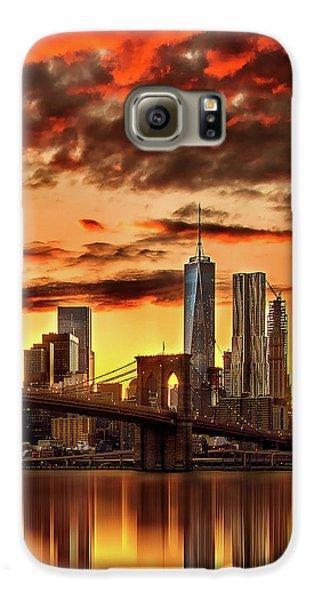 New York City Skyline Galaxy S6 Case - Blazing Manhattan Skyline by Az Jackson