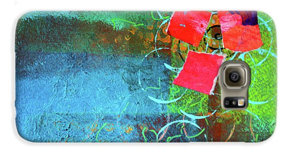 Galaxy S6 Case featuring the mixed media Bloom Abstract Collage by Nancy Merkle
