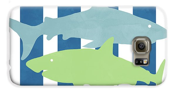 Hammerhead Shark Galaxy S6 Case -  Blue And Green Sharks- Art By Linda Woods by Linda Woods