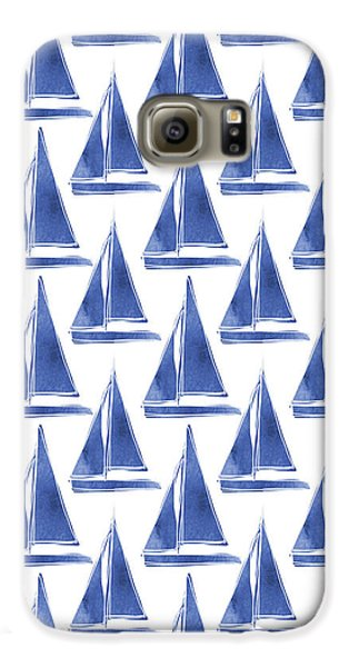 Transportation Galaxy S6 Case - Blue And White Sailboats Pattern- Art By Linda Woods by Linda Woods