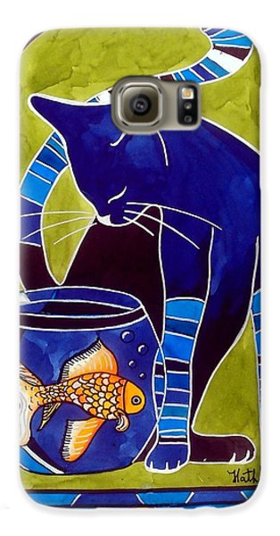 Blue Cat With Goldfish Galaxy S6 Case by Dora Hathazi Mendes