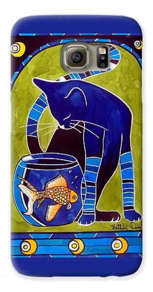 Galaxy S6 Case featuring the painting Blue Cat With Goldfish by Dora Hathazi Mendes