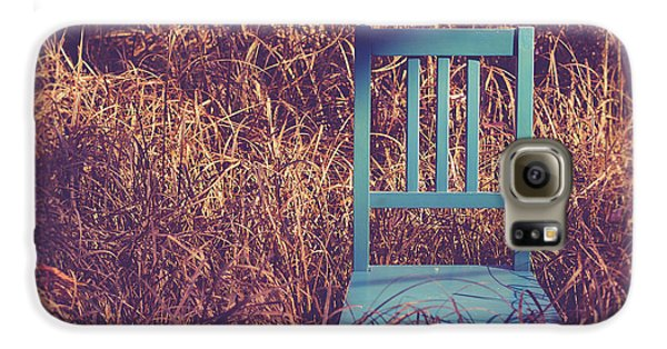 Blue Chair Out In A Field Of Talll Grass Galaxy S6 Case by Edward Fielding