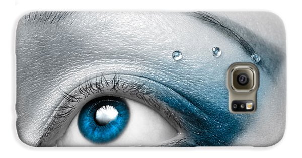 Colours Galaxy S6 Case - Blue Female Eye Macro With Artistic Make-up by Maxim Images Prints