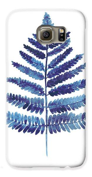 Garden Galaxy S6 Case - Blue Ferns Watercolor Art Print Painting by Joanna Szmerdt