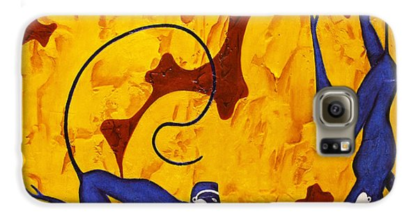 Bogdanoff Galaxy S6 Case - Blue Monkeys No. 45 by Steve Bogdanoff