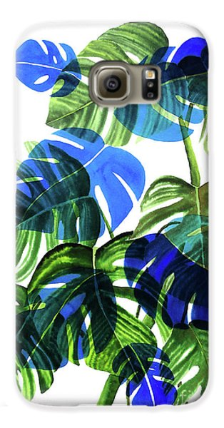 Blue Monstera Galaxy S6 Case by Ana Martinez