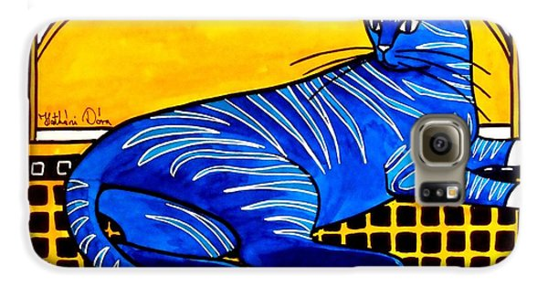 Galaxy S6 Case featuring the painting Blue Tabby - Cat Art By Dora Hathazi Mendes by Dora Hathazi Mendes