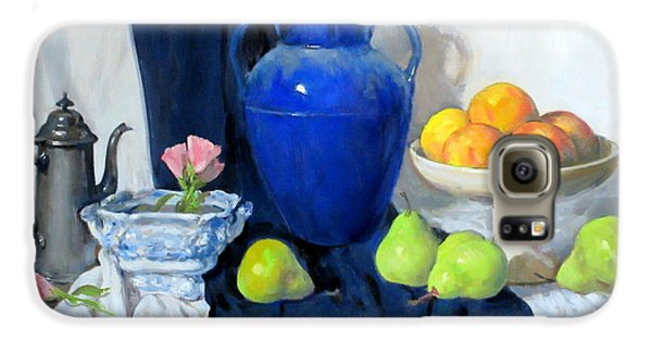 Blue Vase, Peaches, Pears, Lisianthus, Silver Coffeepot Galaxy S6 Case