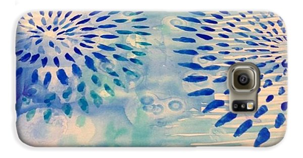 Blue Galaxy S6 Case - #blue Watercolor And #alcoholdrops Give by Robin Mead
