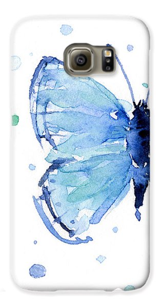 Blue Watercolor Butterfly Galaxy S6 Case by Olga Shvartsur