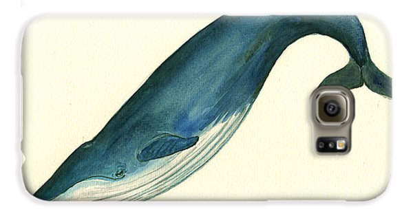 Blue Whale Painting Galaxy S6 Case by Juan  Bosco