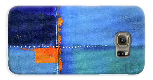 Galaxy S6 Case featuring the painting Blue Window Abstract by Nancy Merkle