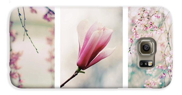 Galaxy S6 Case featuring the photograph Blush Blossom Triptych by Jessica Jenney