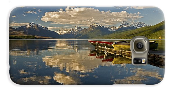 Boats At Lake Mcdonald Galaxy S6 Case