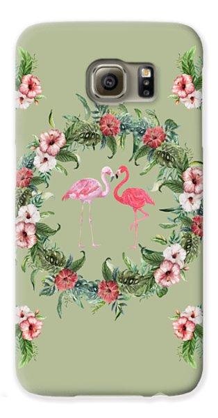 Galaxy S6 Case featuring the digital art Boho Floral Tropical Wreath Flamingo by Georgeta Blanaru