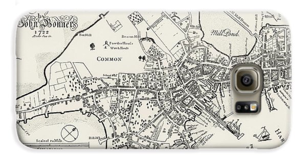 Boston Map, 1722 Galaxy S6 Case by Granger