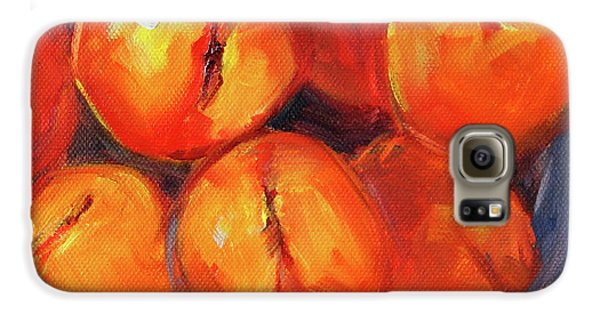 Galaxy S6 Case featuring the painting Bowl Of Peaches Still Life by Nancy Merkle