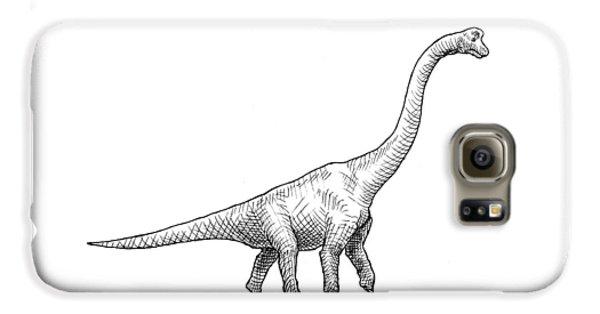 Brachiosaurus Black And White Dinosaur Drawing  Galaxy S6 Case by Karen Whitworth