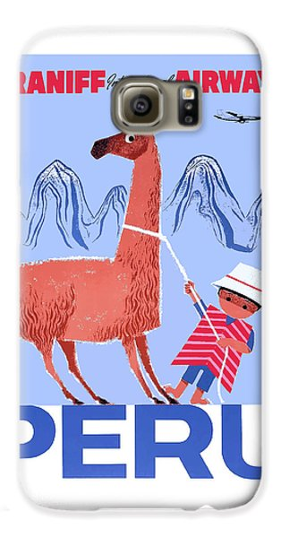 Llama Galaxy S6 Case - Braniff Airways Peru Child And Llama Travel Poster by Retro Graphics