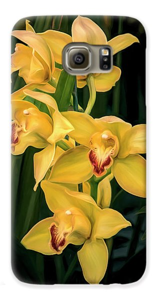 Orchid Galaxy S6 Case - Bright Yellow Orchids by Tom Mc Nemar