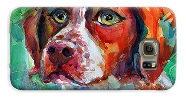 Brittany Spaniel Watercolor Portrait By Galaxy S6 Case