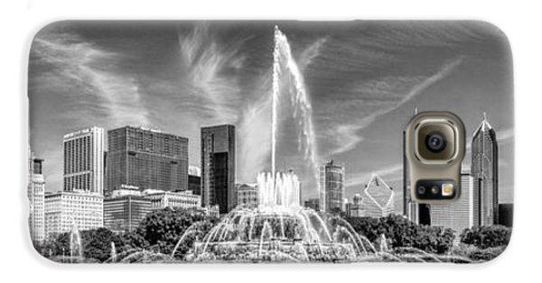 Buckingham Fountain Skyline Panorama Black And White Galaxy S6 Case