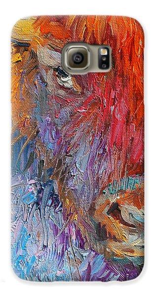 Buffalo Bison Wild Life Oil Painting Print Galaxy S6 Case by Svetlana Novikova