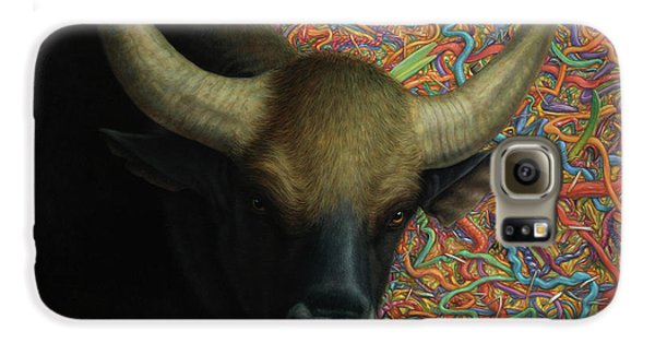 Bull Galaxy S6 Case - Bull In A Plastic Shop by James W Johnson