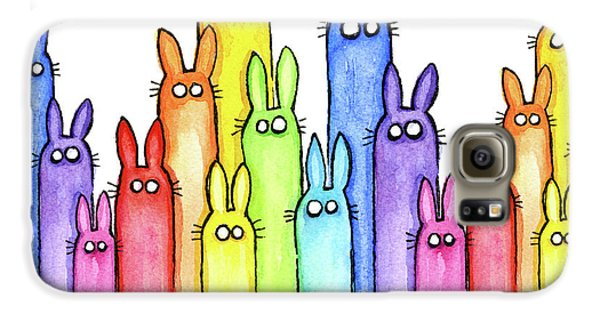 Bunny Rainbow Pattern Galaxy S6 Case by Olga Shvartsur