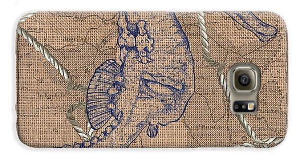 Seahorse Galaxy S6 Case - Burlap Seahorse by Debbie DeWitt