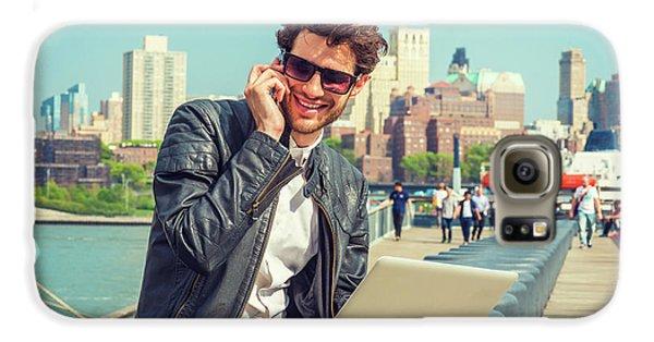 Businessman Enjoying Working Outside Galaxy S6 Case